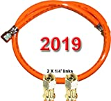 """TGO Gasgeräte GmbH Gasschlauch 2 X 1/4"""" Links (500 cm) - Standard (PVC) mit Aufdruck 2019 (für Gewinden-Außenmaßen mit ca. 12-13mm)"""