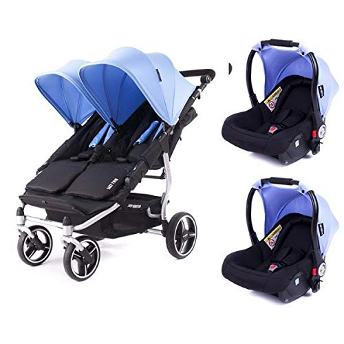 Poussette double Baby Monsters Easy Twin 3S Reversible - Chassis Silver + 2 sièges auto Luna Mediterranean