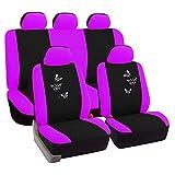 SITU universal Auto Schonbezug Komplettset Sitzbezüge für Auto mit Butterfly schwarz/violett SCSC0054