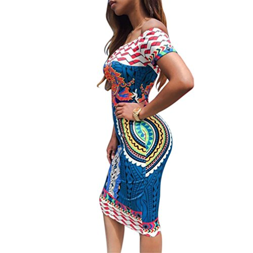 Bovake Frauen Traditional African Print Dashiki Bodycon Sexy Kurzarm Kleid (M)