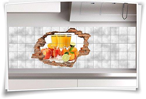 Fliesenaufkleber Fliesenbild Wanddurchbruch Sticker Früchte Saft Obst Multivitamin, 120x80cm, 25x25cm (BxH) - 80 Multivitamine