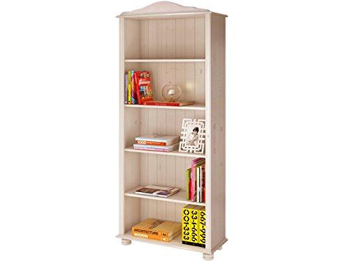 JASMIN Groß Bücherregal weiß Holzregal Standregal Wohnzimmer Möbel Landhausstil Kiefer massiv (Massivholz) in weiß lasiert