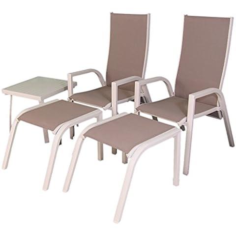 Conjunto de terraza, 2 sillones reclinables, 2 reposapies y 1 mesita auxiliar - Portes gratis
