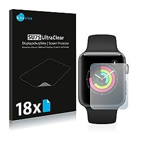 Savvies Schutzfolie für Apple Watch Series 3 (42 mm) [18er Pack] – klarer Displayschutz