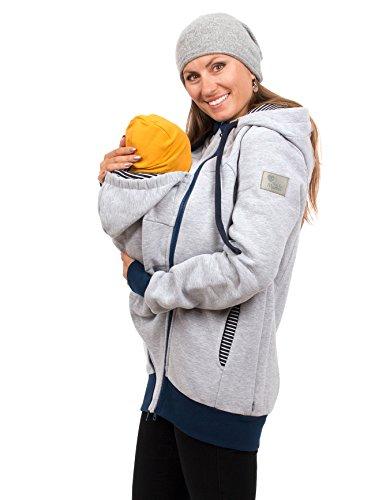 Viva la Mama Baby Tragetuch-Jacke Umstandsmode Jacke für Damen warm Winterjacke schwanger Jacke mit Babytrage - Elliot grau Streifen - S