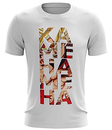 Stylotex Fitness T-Shirt Herren Sport Shirt Kamehameha Gym Tshirts für Performance beim Training   Männer Kurzarm   Funktionelle Sport Bekleidung, Größe:L, Farbe:Weiss - Z-kleidung Ball Für Dragon Frauen