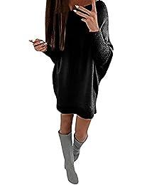 Donna Collare Obliquo Vestiti Invernali Eleganti Pullover Abito Manica Lunga Mini Dress Casuale Vestito A Maglia Maglione