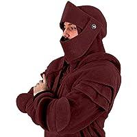Xinxinyu Hombre Pullover Sudadera Holgado, Moda Enmascarado Chaquetas Cremallera Completa Hoodies, Cordón Invierno Abrigos Manga Larga Blusas Tops (L, Rojo)