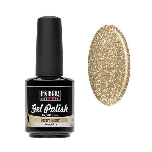 INGINAILS PROFESSIONAL: UV Gel Lack - Desert Glitter - 15ml - goldene Farbe mit Glittern - von hoher Qualität, geeignet für den professionellen Gebrauch