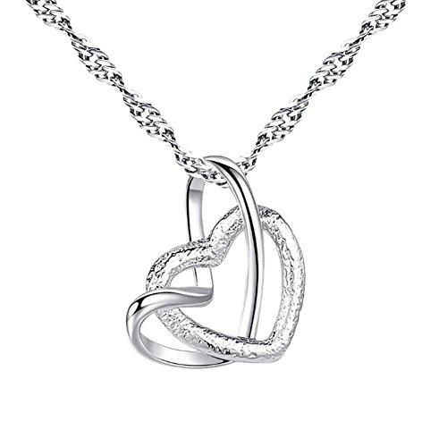 Lovinda Girl Frauen Silber überzogene Halskette Anhänger Doppel Herz Diamant Zirkon Halskette Anhänger Schlüsselbein Kette Günstige Schmuck für Freundin Frauen Dame Geburtstagsgeschenk