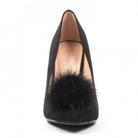 Ideal Shoes - Escarpins à bout pointus effet daim avec pompon Kadia Noir