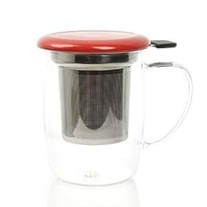SingleTEA Mug à thé en verre avec infuseur en acier inoxydable - 400 ml