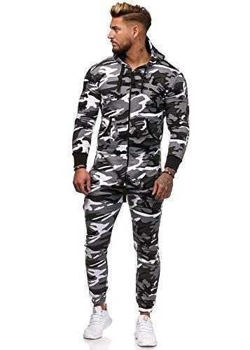 Herren Overall Jumpsuit Weiß Camouflage Jumper (Weiß, M)