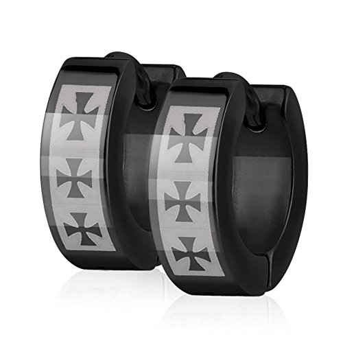 Bungsa schwarze Ohrringe Creolen KREUZ - schwarzes Ohrringe Set mit KREUZEN für Damen & Herren - aus EDELSTAHL - Klappcreolen schwarz - black Unisex Cross Huggies - Kreolen für Frauen ()