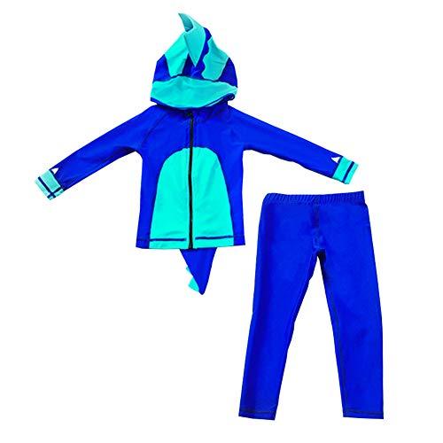 bekleidung - Jungen/Mädchen Einteiler Badeanzug Schwimmanzug Neoprenanzug Wetsuit Fullsuit in Design von Dinosaurier Kostüm, Blau, 128(Label: XXXL) ()