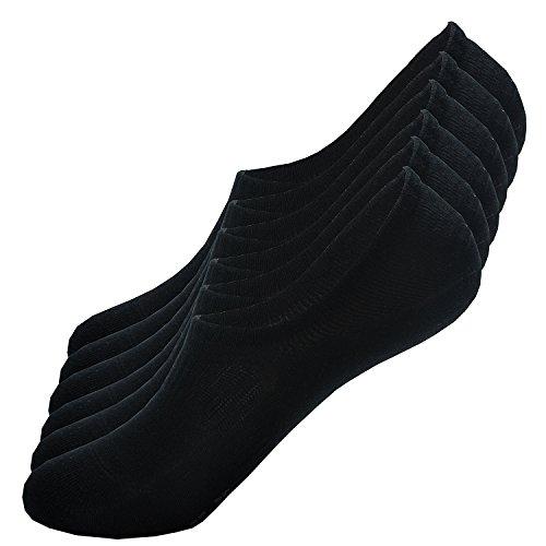 ZJCTUO Sneaker Socken Damen und Herren Unsichtbare Füßlinge Kurzsocken (6 Paar) in Schwarz mit Netzen-M -