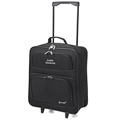 Set of 2 Cabin Approved Lightweight Folding Ryanair/Easyjet Hand Luggage Trolley Suitcase Carry On Bags