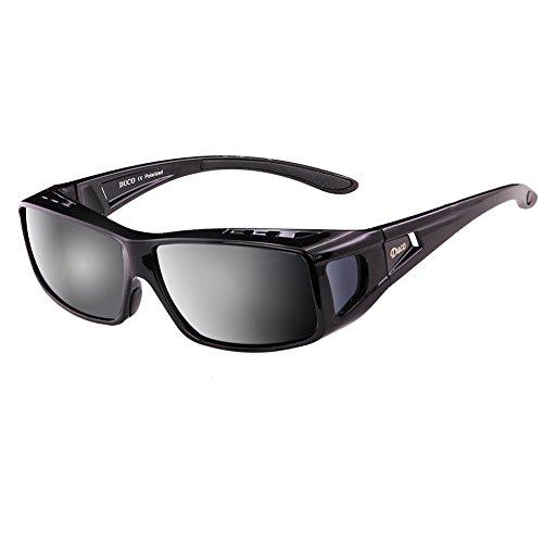 Duco Herren und Damen Sonnenbrille Polarisiert Unisex Brille Überbrille für Brillenträger Fit-over Polbrille (Schwarz) (Brille Männer Rezept)
