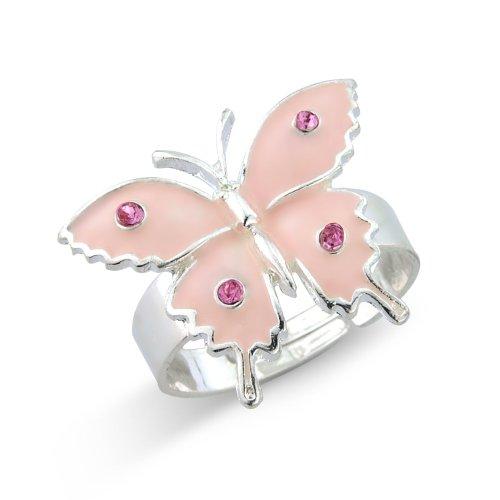 Hübscher pinker Schmetterling Kinder Ring – Geschenkkarton