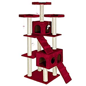 TecTake Cat Scratcher Activity Center High Quality Cat tree Knuti winered 186cm height Column (sisal) diameter approx. 8 cm