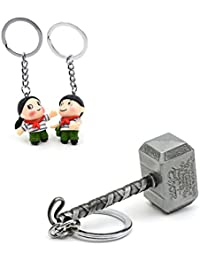 Three Shades Thor Hammer Marvel Avengers Superhero Silver Design Key Chain & Tapori Couple Keychain (Bike & Car)