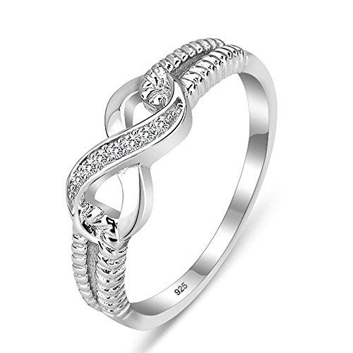 925 Sterling Silber Zirkonia Infinity Unendlichkeit Damen-Ring diamante schmuck größe 60(19.1)