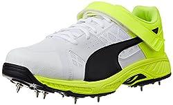 Puma Mens evoSPEEDCricketB White, Black and Safety Yellow Cricket Shoes - 8 UK/India (42 EU)