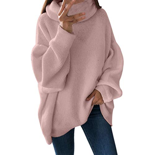 KUDICO Damen Sweater Tops Pullover Gemütlicher Rollkragenpullover Solide Langarm Lässige Lose Bluse Sweatshirt(Rosa, EU-40/CN-XL)