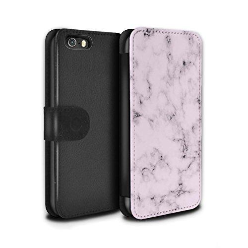 STUFF4 PU-Leder Hülle/Case/Tasche/Cover für Apple iPhone SE / Weiß Muster / Marmor Granit Bewirken Kollektion Rosa