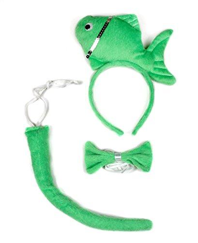 d Schleife Schwanz 3-teiliges Kostüm für Kinder Halloween oder Party Gr. One size, grün (Fisch Stirnband Kostüm)