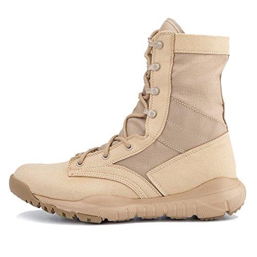 PANY Hombre Botas Militares Botas de Combate ultraligeras y Transpirables Zapatos al Aire Libre Botas tácticas del Desierto Cuero PYCQ Beige 42 EU