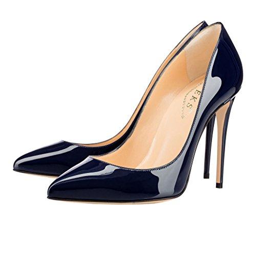 EKS Damen Zesagh Spitzschuh Sexy Slip-on Stilettos Absatz Kleid-Pumpen Blau-Lackleder