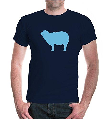buXsbaum® T-Shirt Schaf-Tier-Silhouette Navy-Skyblue