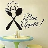 stickers muraux stickers muraux 3d Cuisine Couverts Chef Bon Appetit Cuisine Chambres...