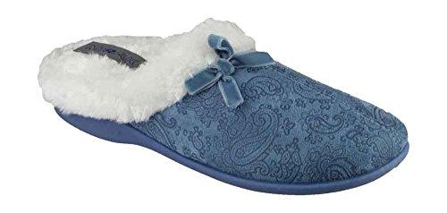 Slipper Dieppe Bleu Detail Fluffy Lining Ladies Royal Bow Mirak Mule 5ASq0zTxn