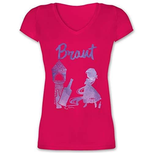 Prinzessin Rot Kostüm Braut - JGA Junggesellinnenabschied - JGA Braut Prinzessin - M - Fuchsia - XO1525 - Damen T-Shirt mit V-Ausschnitt