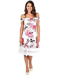 KRISP® Femmes Robe Bardot Patineuse Imprimée à Fleurs Midi