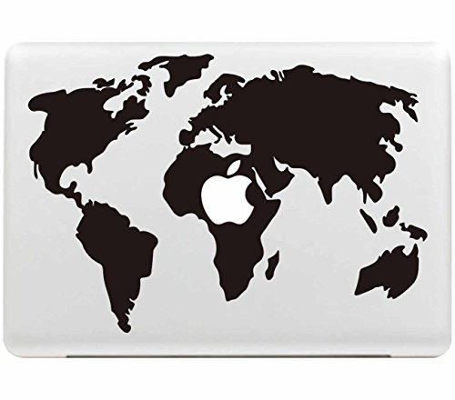 Macbook Sticker , Stillshine Removable Schwarz Kreativ Macbook Sticker Aufkleber Skin Laptop Vinyl Decal Sticker Abziehbild Abziehbilder (Weltkarte)
