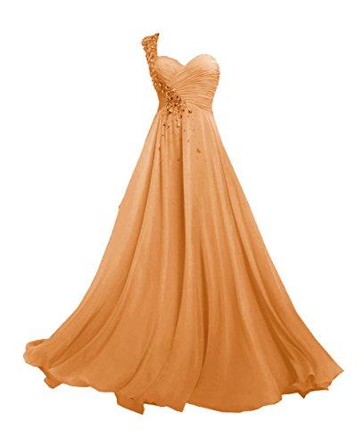 JAEDEN Donne Una spalla Chiffon Abiti damigella d'onore Lungo Del vestito da promenade Arancione