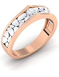Myzevar Cubic Zirconia 18K Rose Gold Plated Sterling Silver Couple Band For Women