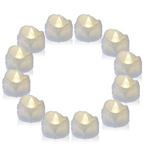 PChero 12 Pack Batterie LED Flameless flackernde Teelichter Kerze und die letzten 60 Stunden, ideal für Feiern Main Dekorationen - (warmweiß)
