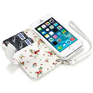Terrapin PU Leather Wallet Case/Cover/Pouch/Holster with Floral Interior for iPhone 5S - White