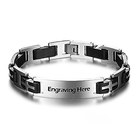JewelOra personalisierte Edelstahl Armbänder Modeschmuck 225mm Cross Herren Armbänder Geschenk Gravieren (Edelstahl)