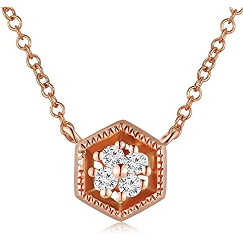LR accessori 9 ct oro esagonale diamante collana 16