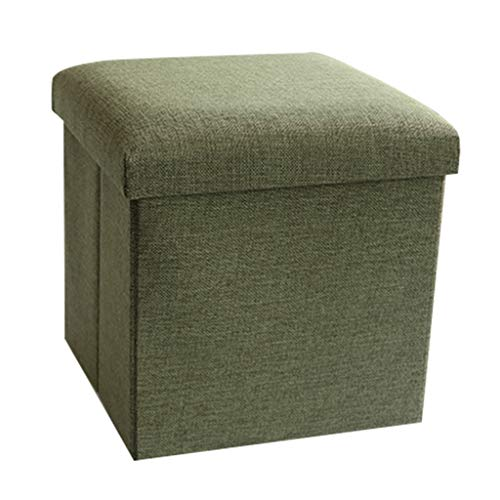 LINGZHIGAN Linge de Coton Pouf Pliable Ottoman Ménage Boîte De Rangement Tabouret De Rangement -30 * 30 * 30cm La Plus Haute Charge Est 100kg LINGZHIGAN (Color : Light green)