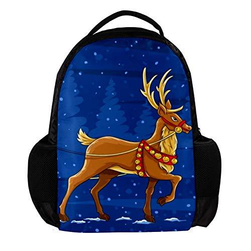 Weihnachtsmann und Rentier Leichter Rucksack für Reisen mit großer Kapazität Schultasche Casual Daypack für Männer/Frauen/Kinder 27.5x13x40cm