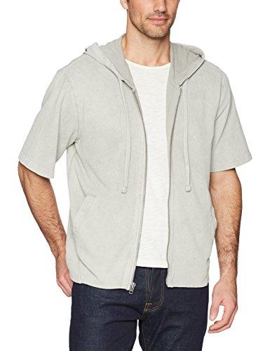 William Rast Herren Rowan Short Sleeve Zip Hoodie Kapuzenpulli, Grau meliert, XX-Large Short Sleeve Zip Hoodie