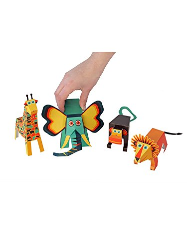 POWERHAUS24 Elefant, Giraffe, Löwe & Äffchen, Bastelvorlage Tiere aus Afrika, Papier Spielzeug zum Basteln & Spielen