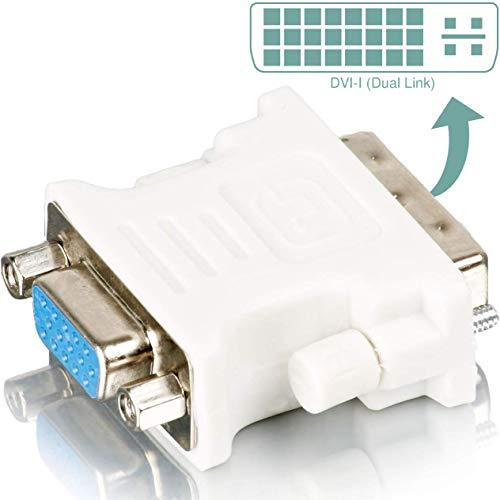 DVI Adapter (DVI-I zu VGA) DVI 24+5 zu VGA Adapter | Digital auf Analog Adapter für Grafikkarten, Beamer, und Monitore