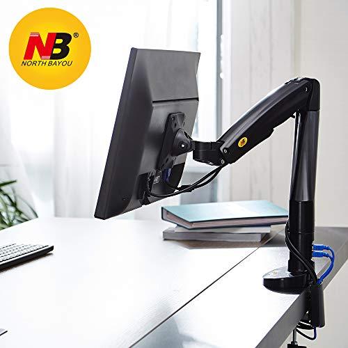 """NB North Bayou F100A 22"""" - 35"""" Monitor Tischhalterung mit Justierbare Gasfeder Monitorhalterung Ergonomische Bildschirmhalterung 3-9kg Monitor Arm Frei Drehbar 360°mit 2 USB2.0 für 22-35"""" Bildschirm"""